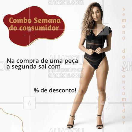 Para deixar a sua semana  do consumidor ainda melhor, preparamos uma promoção especial para você. Na compra de uma peça a segunda tem (inserir valor) % de desconto. Venha aproveitar! #tendencia #moda #modapraia #summer #AhazouFashion #praia #beach #verao #fashion #AhazouFashion #AhazouFashion #AhazouFashion