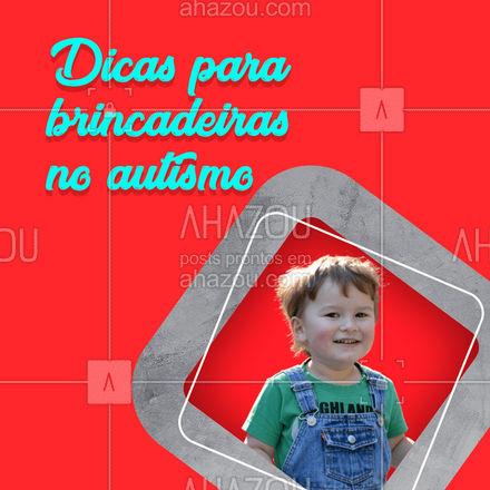Cuidar de uma criança autista exige muito energia e criatividade, veja algumas dicas de brincadeiras e jogos que você pode fazer com seu filho. 1-Jogo de cheiros 2-Jogo de palavras 3-Jogo de pinturas 4-Garrafa sensorial 5-Jogo de Lego  #AhazouSaude  #viverbem #bemestar #fonoaudiologia #fono #saude