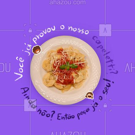 Nosso capeletti tem a massa super leve e saborosa. Entre em contato e peça já o seu! #pasta #restauranteitaliano #massas #comidaitaliana #ahazoutaste #italianfood #italy #cozinhaitaliana #capeletti #deleviry
