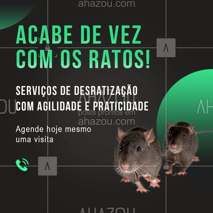 Só com o nosso serviço você será capaz de acabar de uma vez por todas com as pragas na sua casa! Entre em contato e solicite um orçamento. #AhazouServiços #desratização #roedores #ratos #pragas #dedetização #AhazouServiços