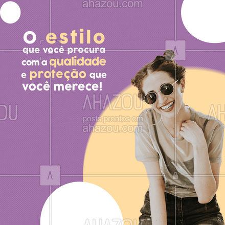 Além de muito estiloso, aqui você tem a certeza que seus olhos estarão protegidos dos raios solares! Venha conhecer nossa coleção de óculos de sol! #oticas #oculosdesol #otica #oculos #AhazouÓticas #estilo #lentes #armaçao #proteçao