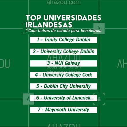 Essas são as melhores universidades na Irlanda que oferecem bolsas pra graduação, mestrado e doutorado para brasileiros! ?? . Marque alguém que você conhece e sonha em estudar no exterior!  . #AhazouEdu #dicas #intercâmbio #morarfora #irlanda #bolsa #estudos