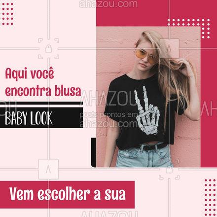A blusa baby look é uma coringa para o seu guarda roupa, você pode usar no seu dia a dia. Quer conhecer os nossos modelos? Nos mande uma mensagem temos lindas peças disponíveis ?#AhazouFashion  #fashion #moda #modafeminina #babylook #blusa