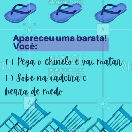 E aí? ? Uma dica: Se chamar a gente não vai nem aparecer barata! #AhazouServiços #dedetização #engraçado #enquete #barata
