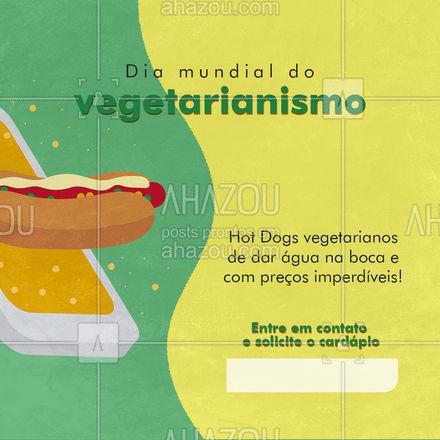 Pensou que o dia mundial do vegetarianismo ia passar em branco? Aqui nós levamos isso a sério e estamos com promoções maravilhosas para você comer aquele hot dog saboroso, aproveite! #ahazoutaste #hotdog  #hotdoglovers  #hotdoggourmet  #cachorroquente  #food