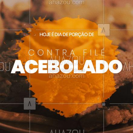 Bateu uma fome? Peça nosso delicioso bife acebolado! ? Não dá pra resistir a este clássico da culinária brasileira! ? #contrafile #contrafileacebolado #porcao #restaurante #ahazoutaste #selfservice #foodlovers #alacarte #meatlover #delivery #entrega #ahazoutaste