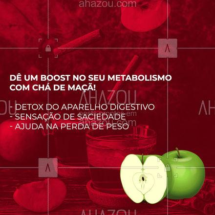 Dá pra ter mais resultado na dieta com apenas algumas mudanças de hábito! Uma delas é adicionar chás termogênicos ou com efeito detox, como o de maçã, à sua rotina diária.  #AhazouSaude #cha #maca  #saude #alimentacaosaudavel #nutricao #bemestar #viverbem #detox #reducaodemedidas #nutri #dicas