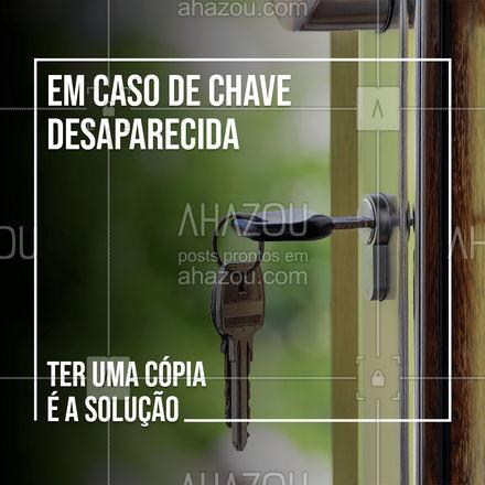 A chave SUMIU? Tudo bem, você fez uma cópia com a gente. ?? #AhazouServiços  #chaveiro #chave