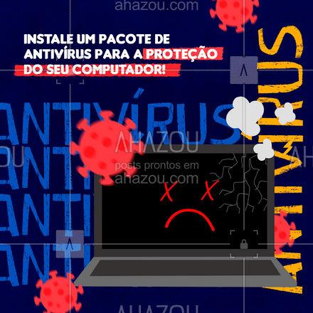 Um dos cuidados mais importantes que devemos ter um pacote de segurança instalado. Procure um bom antivírus para proteger seu computador de ataques nocivos e evitar a propagação de arquivos contaminados.  #AhazouTec #computador #AssistenciaCelular #tecnologia #eletrônicos #assistenciatecnica