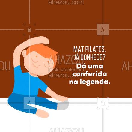O Mat pilates é uma variação do pilates que não utiliza os equipamentos, somente o MAT (tapete) e alguns acessórios. Além de trazer todos os benefícios, também auxilia na melhoria do corpo e mente para a realização de todos os exercícios. Venha conhecer o MAT pilates. #matpilates #pilates #saude #AhazouSaude #convite #fitness