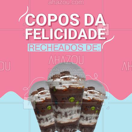Aqui você encontra os seguintes copos da felicidades: (colocar aqui os recheios). Peça já o seu.  #copodafelicidade #doce #ahazoutaste #perfeiçãonocopo #convite #confeitaria