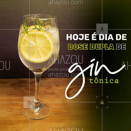 Hoje é dia de tomar um gin e se divertir! Vem aproveitar nosso dia de dose dupla, na compra de um você leva DOIS ? #ahazoutaste #bar #pub #lounge #drinks #gintonica