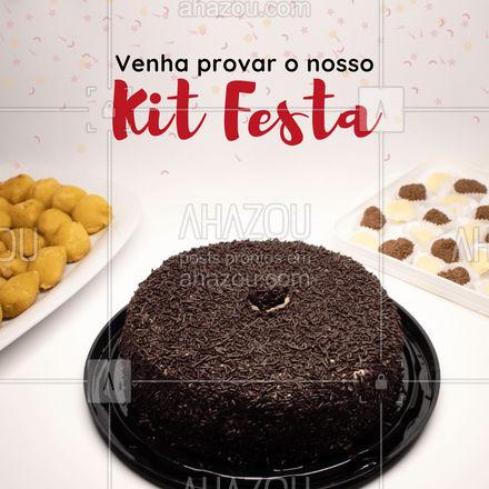 Encomende a sua festa em um só lugar! Tudo fresquinho e com ingredientes de qualidade chegando até você e os seus convidados ? #ahazoutaste #kitfesta #bolo #salgados #brigadeiro #beijinho #festa