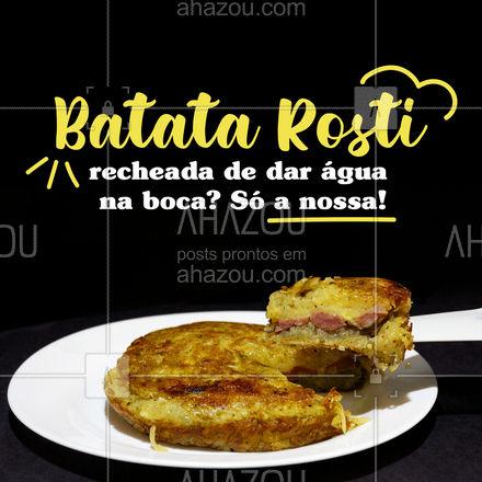 Ainda não experimentou nossa batata rosti recheada? Agora é a hora! Peça já pelo delivery! #ahazoutaste #eat  #ilovefood  #instafood  #foodlovers #convite #cliente #delivery #batatarosti #batatarecheada #sabor