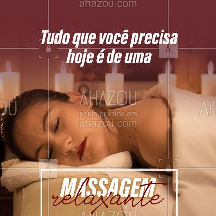 Venha cuidar de si! Agende sua massagem relaxante e aproveite os benefícios que essa massagem pode te proporcionar!   #AhazouBeauty #massagem #massagemrelaxante  #estetica #esteticacorporal #saúde