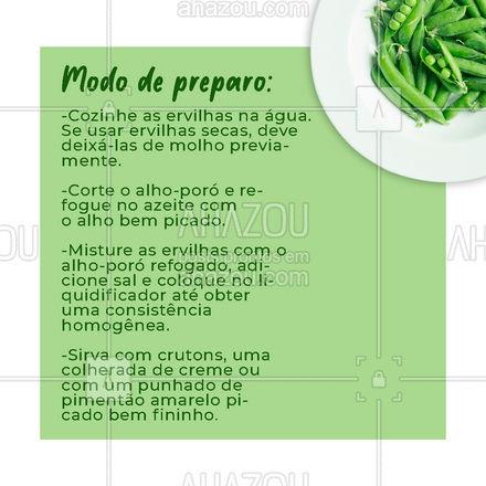 Que tal um delicioso creme de ervilhas com alho-poró? A receita de hoje te ensina a fazer! ?? #receitas #legumes #ahazoutaste  #hortifruti #vidasaudavel #alimentacaosaudavel