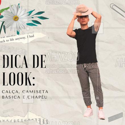 Vamos dar um up nesse look com um chapéu. Nada melhor para sair do básico, não é? ?  #DicadeModa #ModaMasculina #TerceiraPeça #AhazouFashion #Moda #Camisa #Chapéu #Calça #ModaparaHomens
