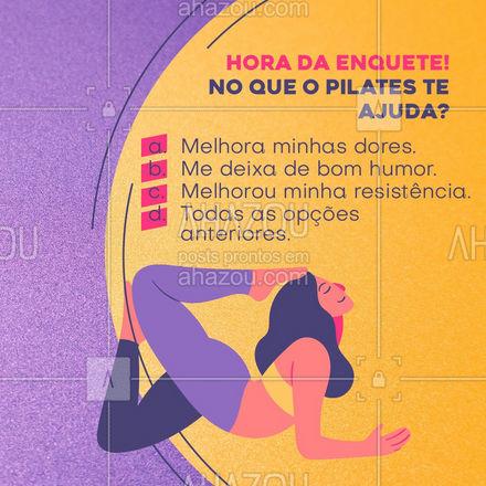 O pilates só tem benefícios! Que tal começar a fazer? Entre em contato e saiba mais!📲💪 #pilates #enquete #AhazouSaude #workout  #fitness  #pilatesbody  #pilateslovers