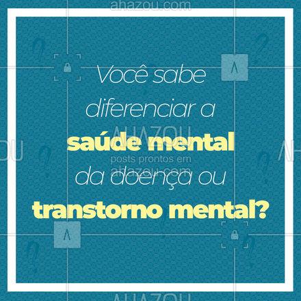 A diferença é bem simples e fácil de entender, e autoexplicativas! A saúde mental refere-se a simplesmente ter saúde e a doença ou transtorno mental é a falta dela. Só para entender melhor a saúde mental não tem uma definição exata pela OMS, o termo é relacionado a como as pessoas  lidam com várias situações. #SaudeMental #TranstornoMental  #AhazouSaude #Saude
