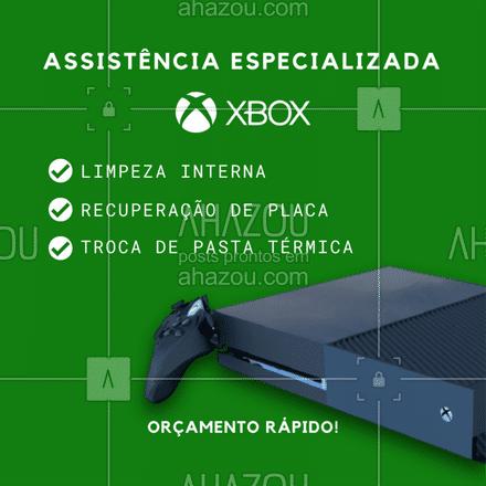 Nossos técnicos especializados te ajudam a deixar seu console funcionando como novo!✔️? . Seu vídeo game merece a melhor! ? . Serviços realizados com rapidez e garantia. . #AhazouTec #consertodeeletronicos #Xbox #videogame #game #console #reparos #assistenciatecnica