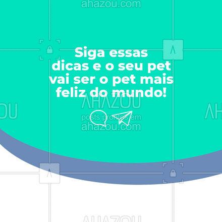 Confira essas 4 dicas que vão tornar o seu bichinho o pet mais feliz do mundo!🐾😍❤ #AhazouPet #dicas  #medicinaveterinaria  #veterinario  #clinicaveterinaria  #vet  #veterinaria  #vetpet  #medvet  #petvet