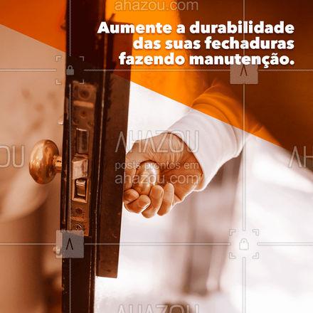 A manutenção é essencial para que as fechaduras continuem funcionando corretamente. Entre em contato: (xx) xxxx-xxxx #AhazouServiços  #chave #chaveiro #manutenção #fechaduras
