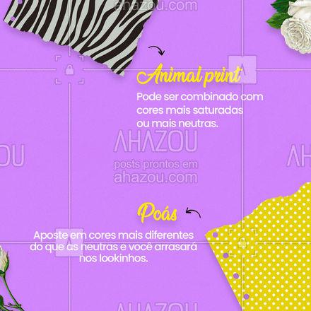 Acompanhe nossos posts e fique sempre por dentro das tendências!  #lookdodia #AhazouFashion #carrosselahz  #fashionista #fashion #moda #OOTD #modafeminina #AnimalPrint #TieDye #Poás #Xadrez #Listras