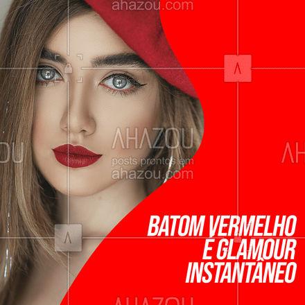 Não importa qual a sua produção, ao passar um batom vermelho, com certeza o glamour vem instantaneamente! 🤩💄 #batomvermelho #batom #AhazouBeauty  #makeup  #maquiagem  #maquiadora