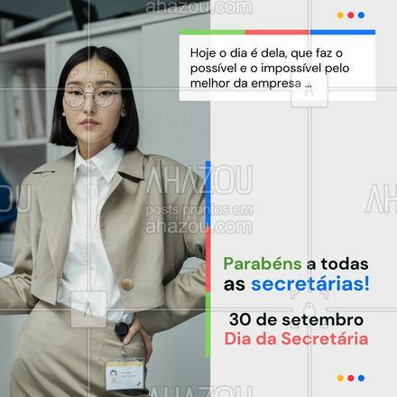 Aproveite a data comemorativa para presenteá-la com uma folga! 😜 #ahazou #motivacional #secretária #diadasecretária #datascomemorativas #frases