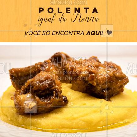 Que tal uma polenta igual da Nonna para o almoço de hoje? Entre em contato e peça já a sua! #restauranteitaliano #comidaitaliana #ahazoutaste #italianfood #italy #cozinhaitaliana #polenta