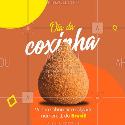 Hoje é Dia da coxinha! Venha comemorar comendo esse delicioso salgadinho! #ahazoutaste #coxinha #diadacoxinha #instafood #foodlovers #salgados #eat #ahazoutaste