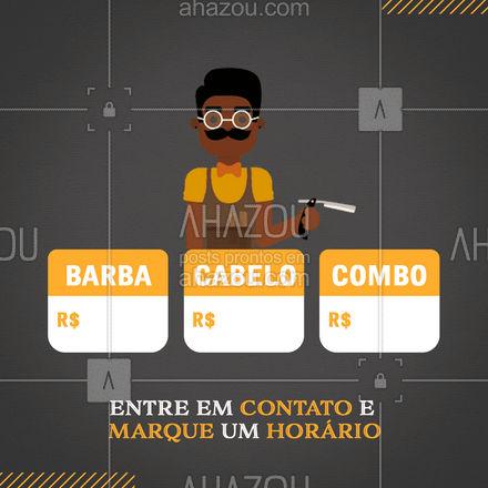 Venha dar aquele tapa no visu e fique estilosão! Entre em contato e agende o seu horário! #barberLife #barbeirosbrasil #barbeiro #barberShop#AhazouBeauty #barbearia #barba #cuidadoscomabarba #barber