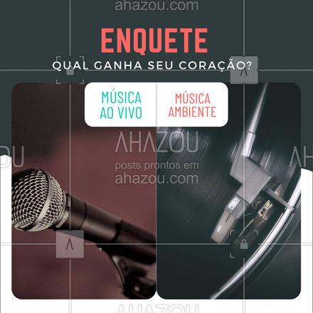 Conta pra gente qual você prefere! Essa já temos uma leve ideia de quem pode ganhar! Comenta aí! ? #ahazoutaste #musicaaovivo #enquete  #pub #bar