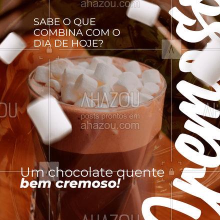 Adoce e aqueça o seu dia com um delicioso chocolate quente! Entre em contato e peça já! #cafeteria #café #coffee #ahazoutaste #barista #coffeelife #cappuccino