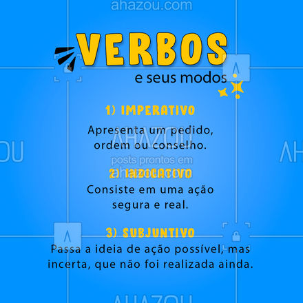 Salve esse post e nunca mais confunda esses três modos dos verbos! ? #Verbos #Gramatica #AhazouEdu #educação # #vestibular