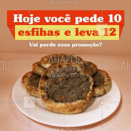 A promoção de hoje é para você garantir umas esfihas extras, vem conferir os sabores participantes e aproveite o seu pedido 😋 #ahazoutaste #esfiha #combodeesfiha #promoção #pizzaria #promocional #desconto