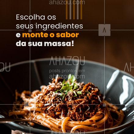 Não tem nada melhor que comer uma massa com o seu sabor preferido, nós temos uma variedade de ingredientes e sabores para te satisfazer!? Peça já a sua ?. #gastronomia #food #pasta#nhoque #lasanha #macarrao #ahazoutaste #massa #molhos #ingredientes #comidaitaliana #restauranteitaliano #ahazoutaste