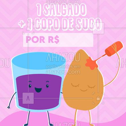Aqui você come bem pagando pouco! Aproveite! ? #ahazoutaste #eat  #ilovefood  #instafood  #foodlovers #salgado #suco #combo #cliente #preço