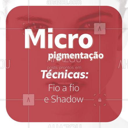 Trabalhamos com duas técnicas de micropigmentação: Fio a Fio e Shadow! Escolha sua favorita e agende seu horário! #AhazouBeauty  #sobrancelha #designerdesobrancelha #beleza #designdesobrancelha #shadow #fioafio