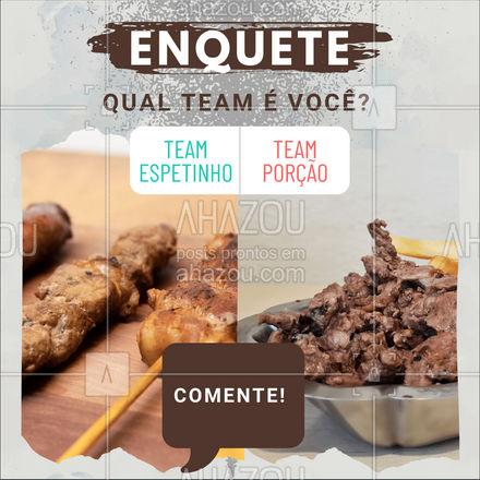 Nós sabemos que essa disputa é acirrada! Vai ser difícil se decidir! Qual Team é o seu? ?  #ahazoutaste #espetinho #porcao  #pub #bar