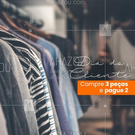 Para agradecer nossos clientes nesta data especial, tem uma promo imperdível preparada com muito carinho! ? Na compra de 3 peças de roupa da nossa loja, a de menor valor é de graça! Bora aproveitar esse presentão? ? #loja #roupas #promocao #AhazouFashion #style #moda #outfit #fashion