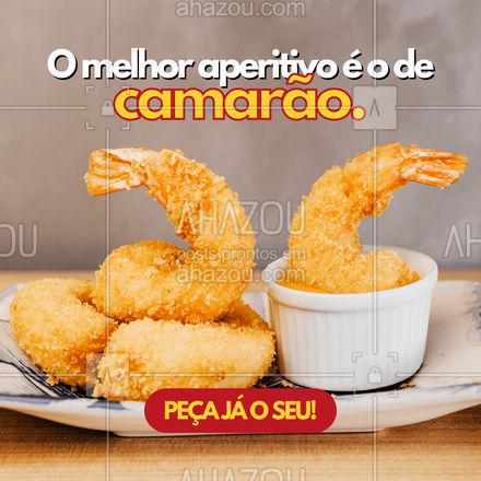 Um aperitivo antes do almoço ou do jantar é sempre bom. E  quando esse aperitivo é de camarão, é melhor ainda. Peça já o seu! #ahazoutaste #aperitivo #camarão #frutosdomar
