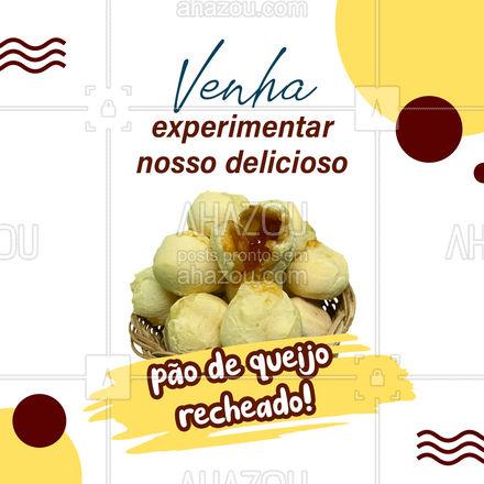 Estamos com novidades! Agora você encontra pão de queijo recheado aqui! Venha experimentar! #ahazoutaste #paodequeijo #recheado  #cafedamanha #salgados #padaria #bakery
