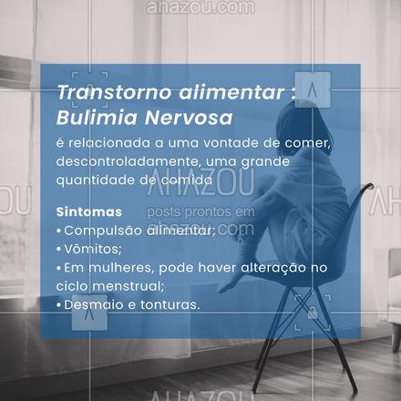 A bulimia nervosa, é um transtorno alimentar,  em que há distorção da imagem e que se manifesta , geralmente, entre as mulheres, tendo como causa diversos fatores, como a pressão estética e depressão. Esse transtorno pode ser tratado com psicoterapia e com o apoio de uma equipe médica, por isso fique atento aos sintomas e procure ajuda! #saudemental #AhazouSaude #viverbem #psicologia #bulimianervosa #AhazouSaude #AhazouSaude