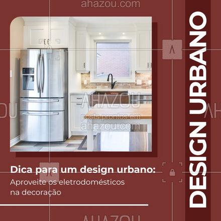 Os eletrodomésticos recebem muito destaque no estilo urbano, especialmente na cozinha! Procure  eletrodomésticos que combinem deixe-os à mostra sobre as bancadas. Assim você vai utilizar melhor os espaços e ter uma arquitetura urbana em casa! Gostou dessa dica? Mande para um amigo! #AhazouDecora #AhazouArquitetura  #arquitetura #designdeinteriores #arquiteto #arquiteturaurbana