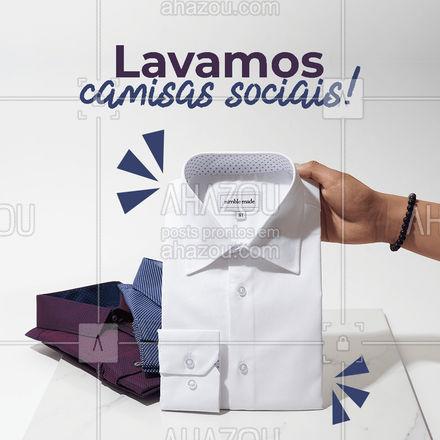 Traga suas peças sociais! Aqui tem qualidade em todos os serviços! #AhazouServiços #camisasocial #lavagem  #lavanderia  #roupalavada  #roupalimpa