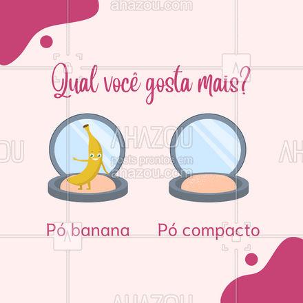 Por aqui a batalha está acirrada, hein! Qual dos dois você gosta mais? Conta pra gente! 🥰 #AhazouBeauty #mua  #makeup  #muabrazil  #maquiagem  #maquiadora  #makeoftheday #enquete #interação #póbanana #pócompacto #issoouaquilo