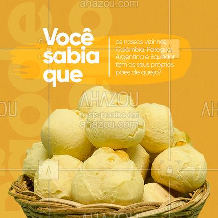 """A Colômbia tem uma versão parecida com o nosso pão de queijo, só que um pouco mais duro e achatado. Por lá, ele se chama """"Pan de Bono"""". Paraguai e Argentina também possuem outra versão da receita, porém o pão de queijo nesse caso ganha formato de """"U"""" e tem o nome de """"Chipa"""". No Equador ele é conhecido como """"Pan de Yuca"""".   #ahazoutaste #vocesabia #curiosidadades #diadopãodequeijo  #cafeteria #panificadora #padaria"""