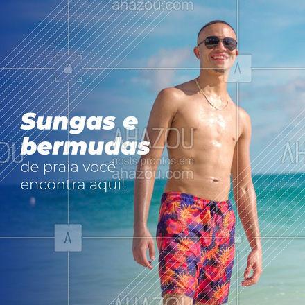 Estilo e diversão garantidos em um só lugar! Confira nossas opções! #AhazouFashion #tendencia  #moda  #modapraia  #summer  #praia  #beach  #verao  #fashion #sungas #bermudasdepraia #bermuda #convite #cliente #opções #confira