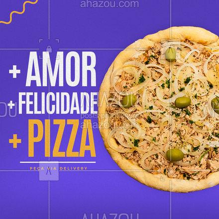 Por um mundo com mais amor, felicidade e pizza todos os dias! Faça seu pedido via delivery. ?(XX) (XXXX-XXXX) ??? #ahazoutaste  #pizzaria #pizza #pizzalife #pizzalovers
